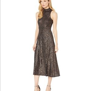 NWOT size 6 and size 12 foil leopard midi dress